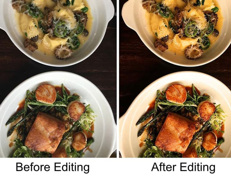 how to edit photos of food
